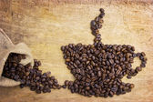 Picture a cup of coffee made from beans — Stock Photo