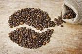 Coffee beans on the board — Стоковое фото