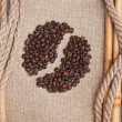 Coffee beans on the board — Stok fotoğraf