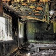 Stock Photo: House after fire in hdr