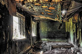 House after the fire in hdr — Stock Photo