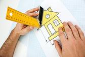 Com a construção de ferramentas de desenho em casa — Fotografia Stock