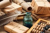 Zátiší v skladu s abacus — Stock fotografie