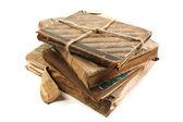 Un viejo libro con una sábana arrugada — Foto de Stock