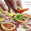 Process of making pizza with ham and tomatoes — Stock Photo #6252468
