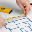 Drawing at home with construction tools — Stock Photo