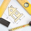 Drawing at home with construction tools — Stock Photo #6252516