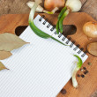 Notebook to write recipes with spices — Stock Photo #6252596