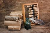 Bodegón en un almacén con ábaco — Foto de Stock