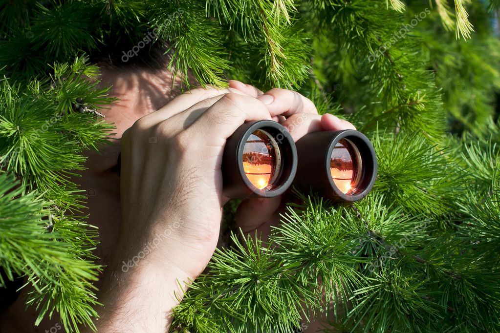 Watching from the bushes with binoculars — Stock Photo #6655075