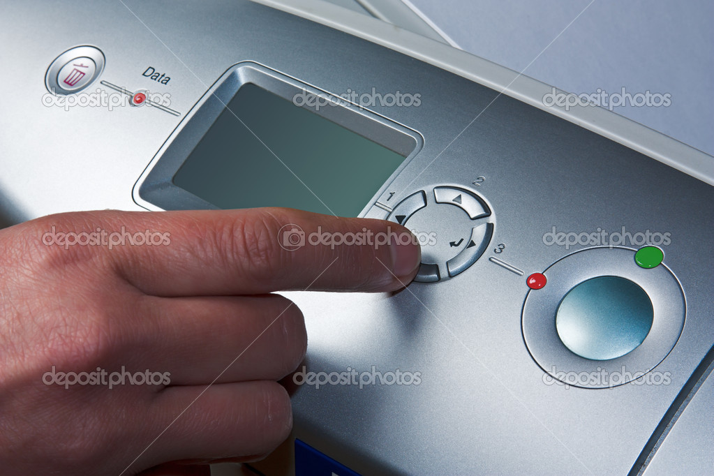 Finger presses the button device — Stock Photo #6655102