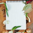 Notebook to write recipes with spices — Stock Photo #6720422