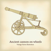 Antique cannon on wheels. Vintage Vector illustration. — Stock Vector