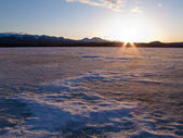 Frozen Lake Laberge, Yukon, Canada — Stock Photo