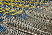 Rows of lined-up Shopping Carts — Stock Photo