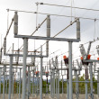 Stock Photo: High-voltage transformer substation