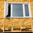 Spray foam insulation conserves energy — 图库照片