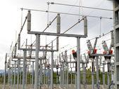 High-voltage transformer substation — Stock Photo
