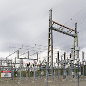 High-voltage transformer substation — Stock Photo