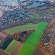 Aerial view of outskirts of Dusseldorf, Germany, Europe - Stock Photo