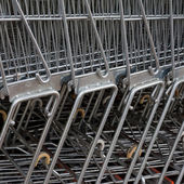 Row of Metal Shopping Carts — Stock Photo