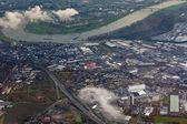 Vue aérienne du rhin à düsseldorf — Photo