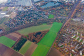Aerial view of outskirts of Dusseldorf, Germany, Europe — Stock Photo