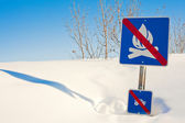 Funny signpost in snowdrift — Stock Photo