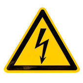 High Voltage Sign isolated on white — Stock Photo