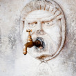 Brass water faucet and carved stone face on wall — Stock Photo #6108627