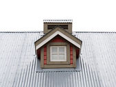Small Dormer Window in metal roof — Stock Photo