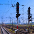 Stock Photo: Railway Signal and Overhead Wiring