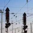 Railway Signal and Overhead Wiring - Stock Photo