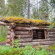 Stock Photo: Old traditional log cabin rotting in Yukon taiga