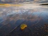 Dramatic Sky Mirrored on Lake Laberge Yukon Canada — Stock Photo