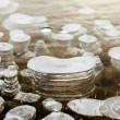 Clear Ice with layered Air Bubbles — Stock Photo