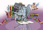 Elephant in School — Stock Photo