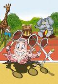 タコのテニス選手 — ストック写真