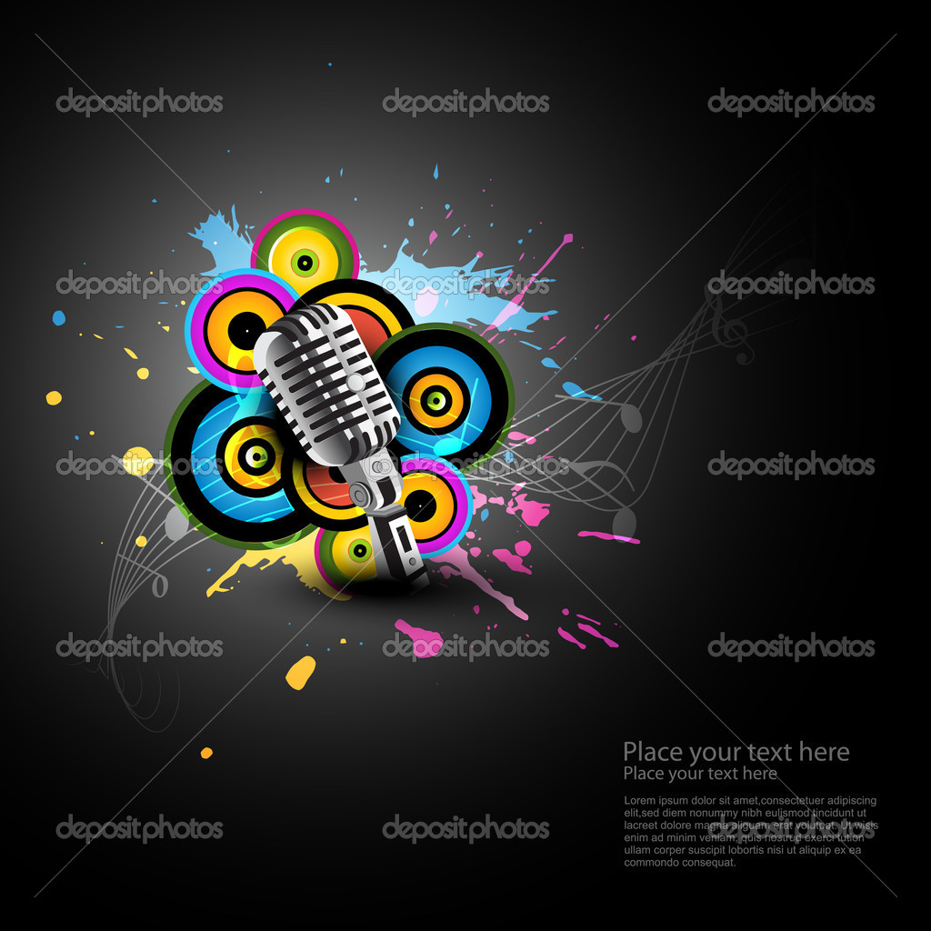 Abstract art of mic with funky background — Stock Vector #5455961