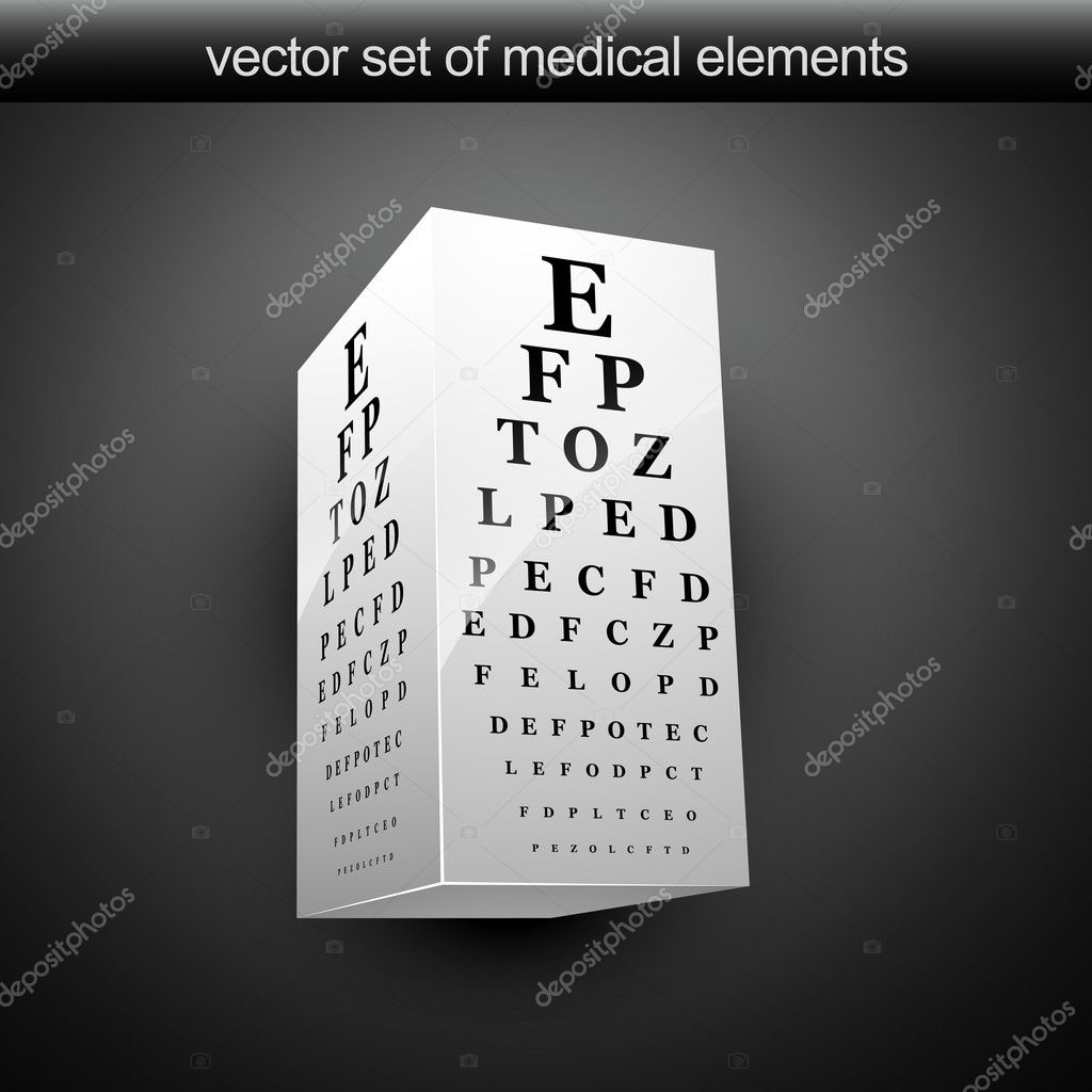 Vector eye chart illustration in 3d — Stock Vector #5767750