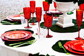 Dinner table setup - Italian Style — Stock Photo