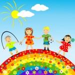 Floral rainbow with happy children — Stock Photo #5446959