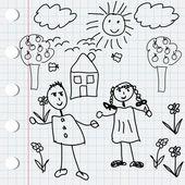 Černá doodle prvky s dětmi — Stock fotografie