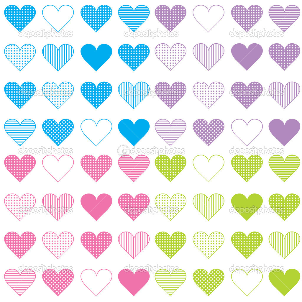 Seamless pattern with colored sets of hearts  Stock Photo #5446965