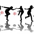 Happy children silhouettes playing with balls — Stock Photo