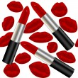 Seamless pattern with lipsticks and lips — Stock Photo