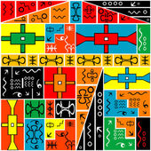 African geometrical motifs, colored background — Stock Photo
