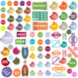 Foto de Stock  : Colored promotional stickers and stamps