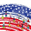 Stylized American flag and children — Stock Photo