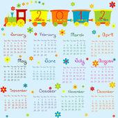 Calendário 2012 com trem dos desenhos animados para meninos — Fotografia Stock
